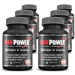 Man Power X Pack of 6,  360 capsules  Unflavoured