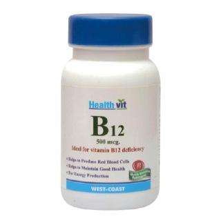 Healthvit Vitamin B12 (500mcg),  Unflavoured  60 tablet(s)