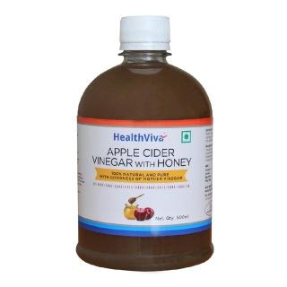 HealthViva Apple Cider Vinegar + Honey,  0.5 L  Unflavoured