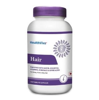 HealthViva Hair With Biotin,  90 Capsules