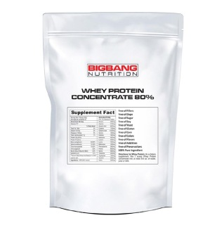 BigBang Nutrition Whey Protein Concentrate 80%,  2 Lb  Unflavoured