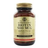 Solgar Super Potency Biotin (5000 Mcg),  Unflavoured  50 Veggie Capsule(s)