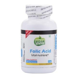 Vista Nutrition Folic Acid,  Unflavoured  100 capsules