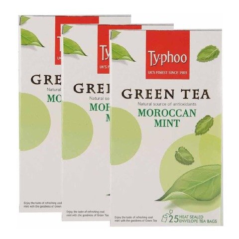 Typhoo Green Tea, 25 Piece(s)/Pack Moraccan Mint - Pack of 3