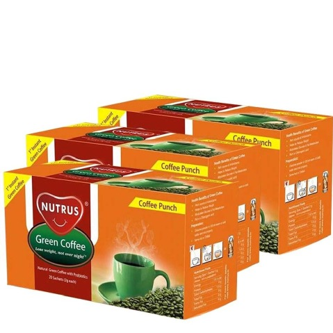 Nutrus Green Coffee Punch (Pack of 3),  20 sachets/pack