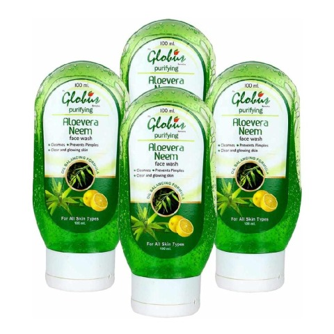 Globus Neem & Aloevera Face Wash - Pack of 4 100 ml All Skin Type