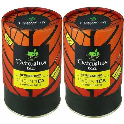 Octavius Refreshing Green Tea - Pack of 2 0.1 kg Ginger