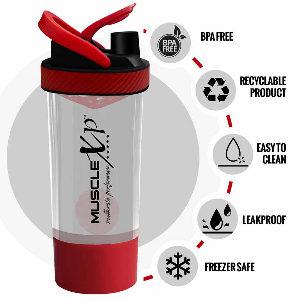 1 - MuscleXP Power XP Blender Shaker with Compartment,  Transparent & Red  700 ml
