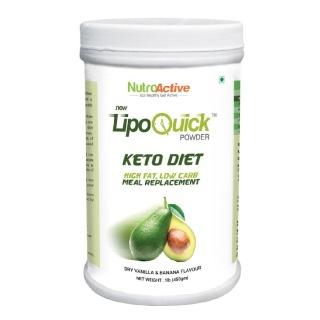 NutroActive LipoQuick Keto Diet Meal Replacement,  1 lb  Dry Vanilla & Banana