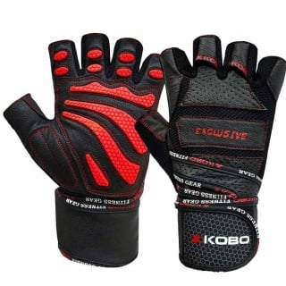 KOBO Gym Gloves (WTG-13),  Black & Red  Small