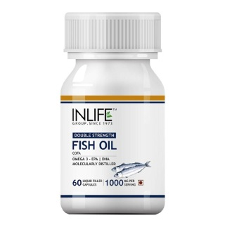 INLIFE Fish Oil Double Strength Omega 3 (1000 mg),  60 capsules