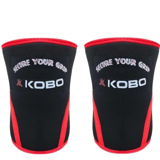 KOBO Weight Lifting Knee Wraps Bandages,  Black & Red  Small